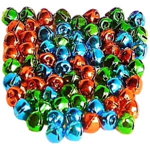 72 Jingle Bells 10mm Red, Green and Blue