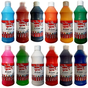 Artmix 600ml Bottles Ready Mix Craft Poster Paint 12 Assorted Colours