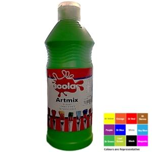 Artmix 600ml Bottles Ready Mix Craft Poster Paint Leaf Green