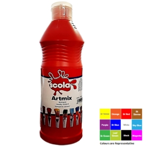 Artmix 600ml Bottles Ready Mix Craft Poster Paint Red