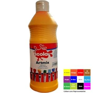 Artmix 600ml Bottles Ready Mix Craft Poster Paint Yellow