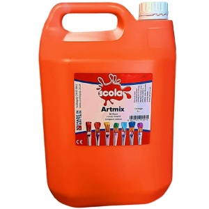 Artmix 5 litre Container Ready Mix Craft Poster Paint Orange