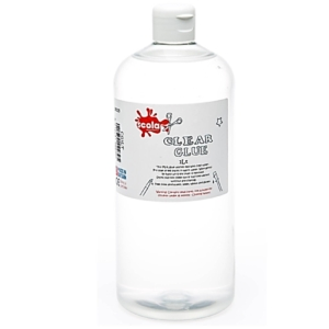 SCOLA 1 Litre Clear PVA Glue Bottle Multi-Purpose School Craft and Slime Making